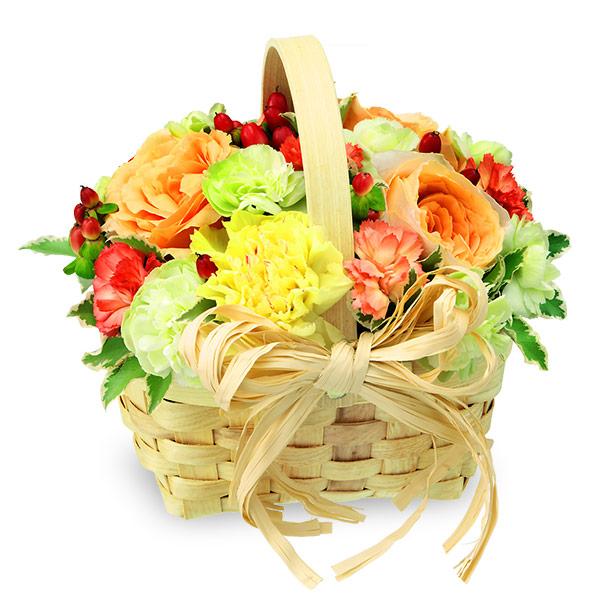 【母の日】ビタミンカラーのウッドバスケット 512026 |花キューピットの母の日プレゼント特集2020