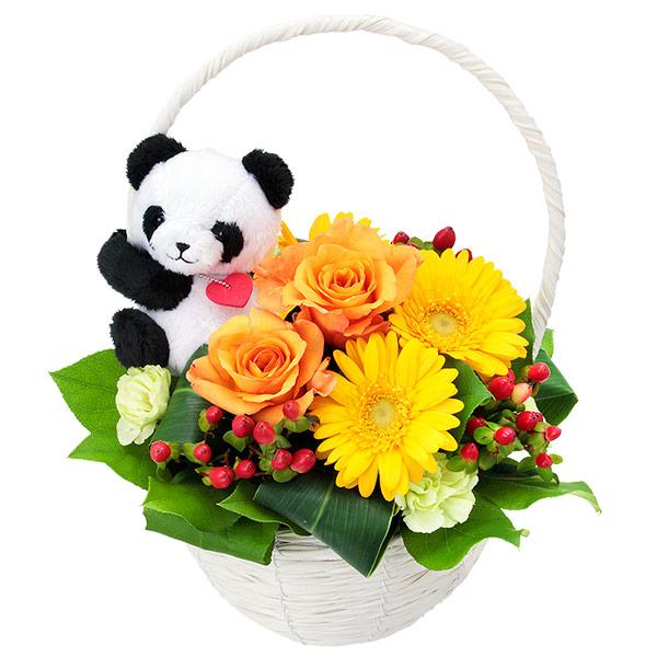 【秋の結婚記念日】オレンジバラのマスコット付きバスケット(パンダ) 512037 |花キューピットの秋の花贈りプレゼント特集2019
