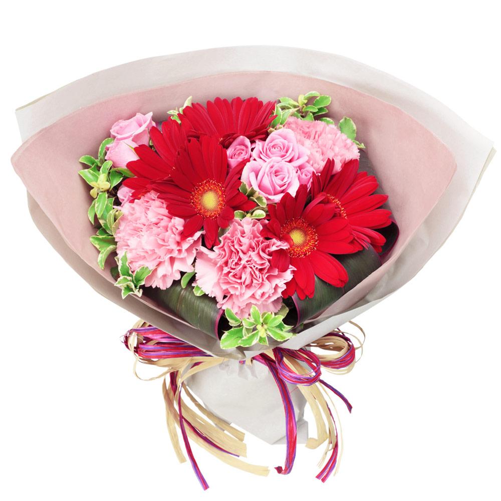 【秋の結婚記念日】赤ガーベラのキュートブーケ 512041 |花キューピットの秋の花贈りプレゼント特集2019