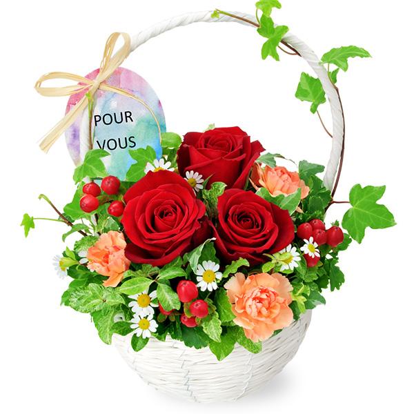 【秋の結婚記念日】赤バラのナチュラルバスケット 512056 |花キューピットの秋の花贈りプレゼント特集2019