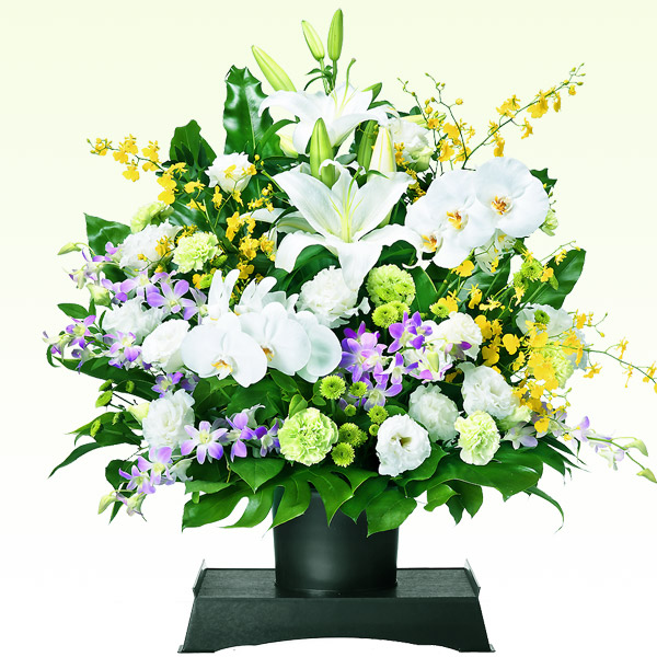 お供えのアレンジメント(供花台(中)付き) 512069 |花キューピットの2019 お盆(新盆・初盆)