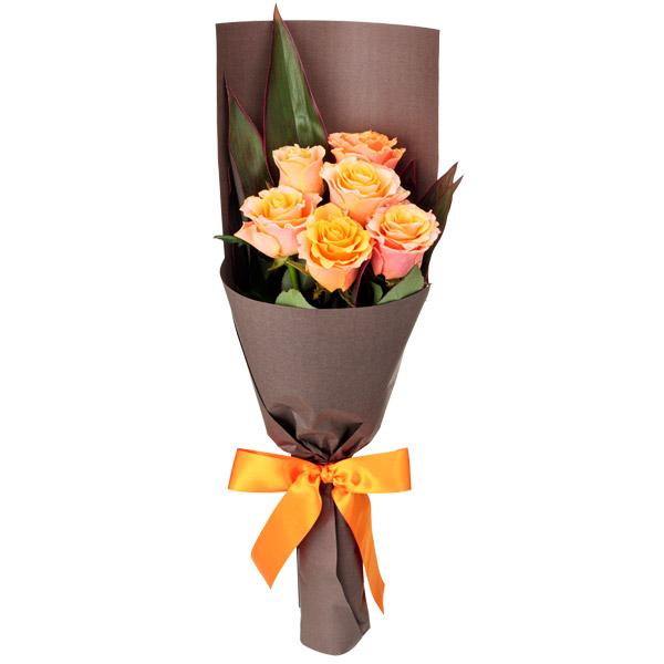 【秋の結婚記念日】オレンジバラ6本の花束 512074 |花キューピットの秋の花贈りプレゼント特集2019