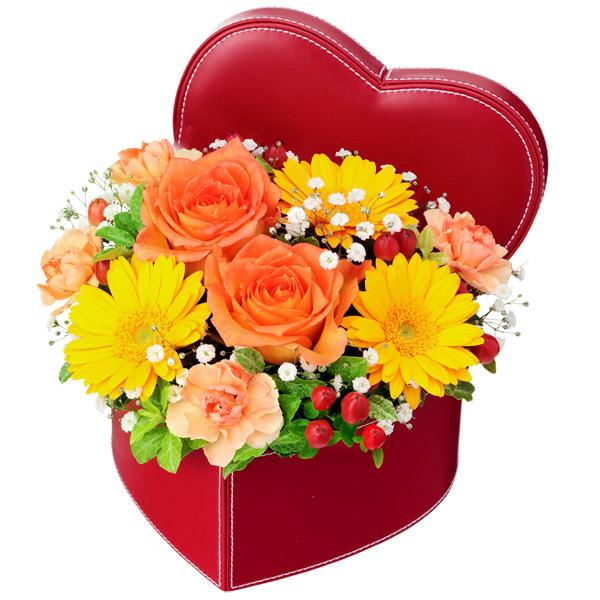 【秋の結婚記念日】オレンジバラのハートボックスアレンジメント 512114 |花キューピットの秋の花贈りプレゼント特集2019