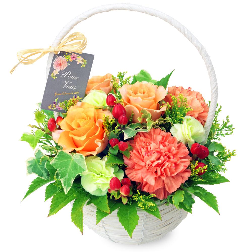 【父の日】オレンジバラのナチュラルバスケット 512125 |花キューピットの父の日プレゼント特集2020