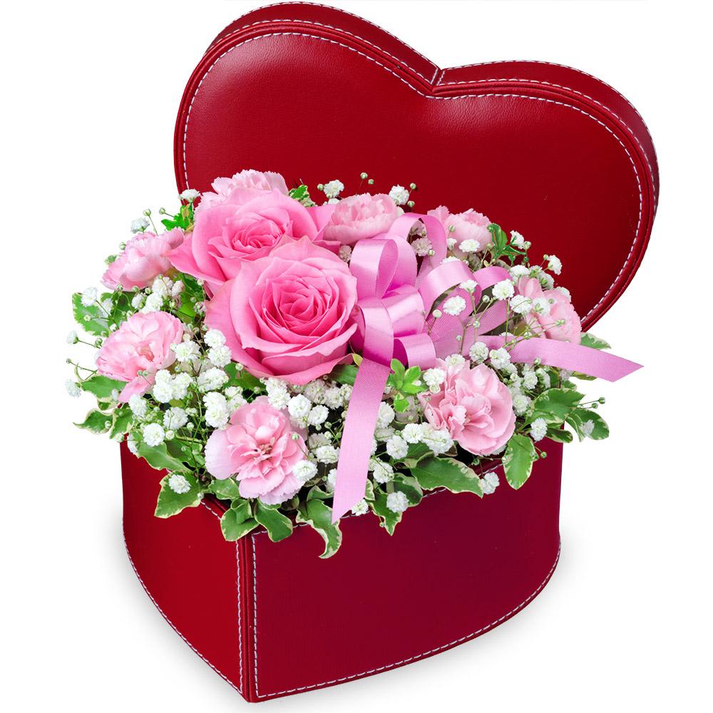 【母の日】ピンクバラのハートボックスアレンジメント 512333 |花キューピットの母の日プレゼント特集2020