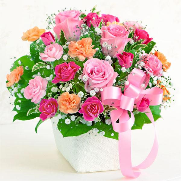 ピンクリボンのアレンジメント 521257 |花キューピットの2019母の日プレゼント特集