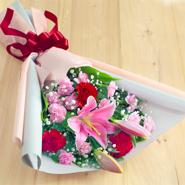 ピンクユリの花束 521294 |花キューピットの2019母の日フラワー特集