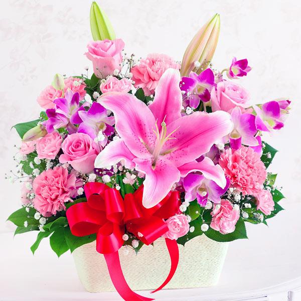 ユリとバラのアレンジメント 613260 |花キューピットの2019母の日フラワー特集
