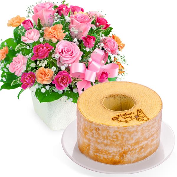 ピンクリボンのアレンジメントと【果子乃季】うさぎの森のこもれびバウム a63521257 |花キューピットの2019母の日プレゼント特集