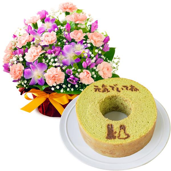 秋のピンクアレンジメントと【果子乃季】うさぎの森のこもれびバウム 小野茶 a66522067|敬老の日セット