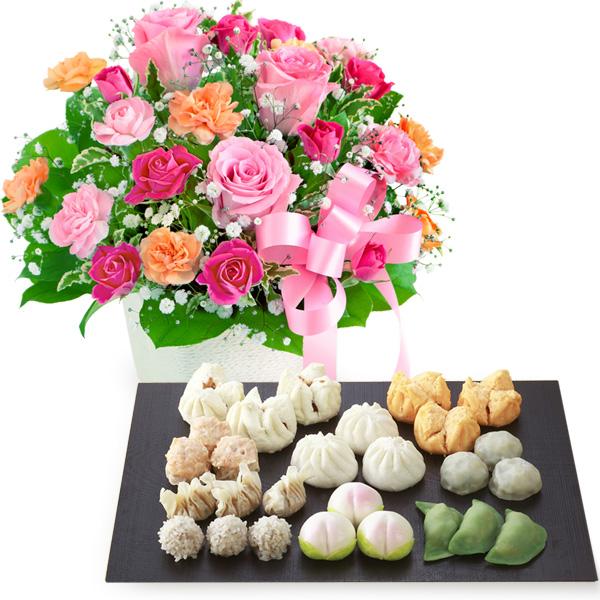 ピンクリボンのアレンジメントと本格広東料理店「桃花林」飲茶セット b03521257 |花キューピットの2019母の日プレゼント特集