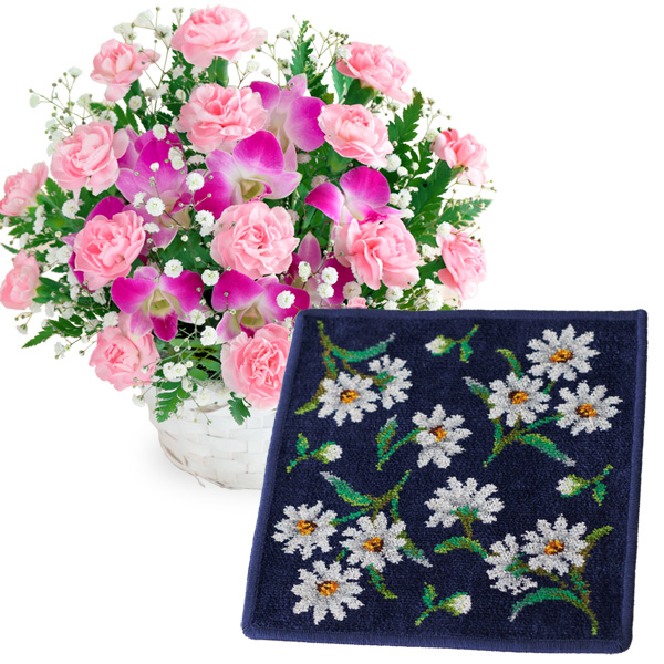 スイートと【FEILER】ホワイトマーガレット ハンカチ c59521252 |花キューピットの2019母の日プレゼント特集