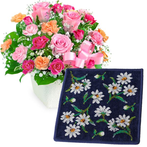 ピンクリボンのアレンジメントと【FEILER】ホワイトマーガレット ハンカチ c59521257 |花キューピットの2019母の日セットギフト特集