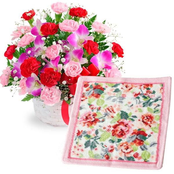 カーネーションと赤リボンのバスケットと【FEILER】イングリッシュローズ ハンカチ c60521282 |花キューピットの2019母の日セットギフト特集