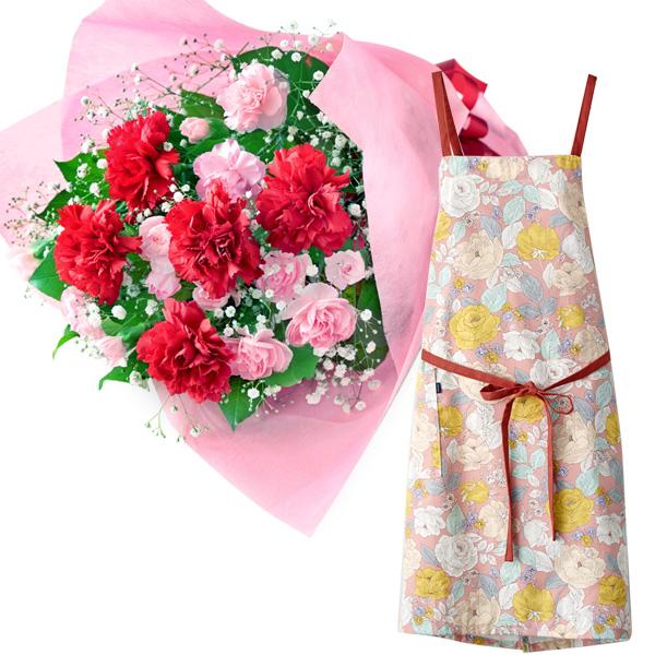 カーネーションの花束とラップエプロン(花柄・ピンク) i08521269 |花キューピットの2019母の日プレゼント特集