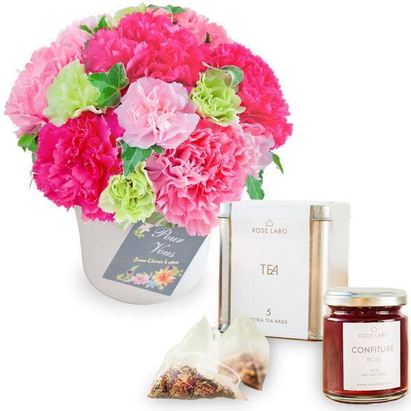 グラマラス(ピンク)と【ROSE LABO】ロシアンティーギフト ro01521253 |花キューピットの2019母の日セットギフト特集
