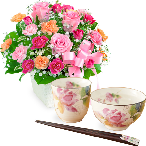 ピンクリボンのアレンジメントと飯碗湯呑セット ばらの香(天宝箸付き) t56521257 |花キューピットの2019母の日プレゼント特集