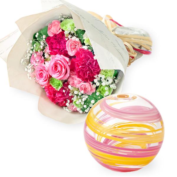 ティーブーケと【津軽びいどろ】一輪挿し(桜風) t57521295 |花キューピットの2019母の日セットギフト特集