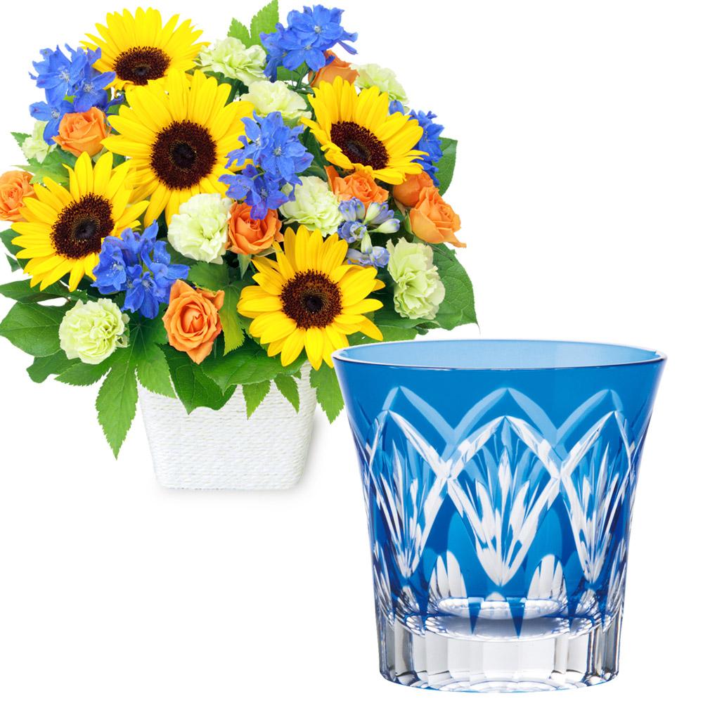 お父さんありがとうアレンジメントと切子グラス(青) t59512213  花キューピットの2020父の日セット