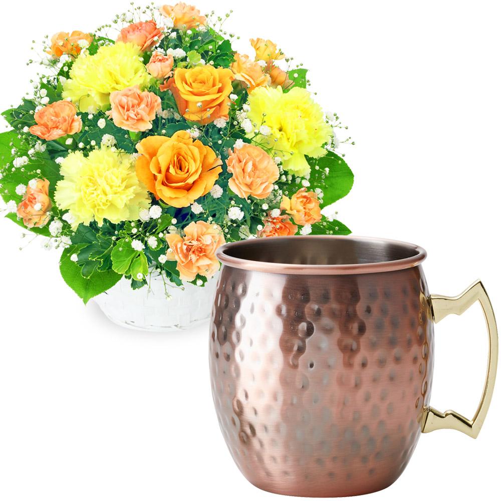 オレンジバラのアレンジメントとカフェオレマグ t68511999  花キューピットの2020父の日セット