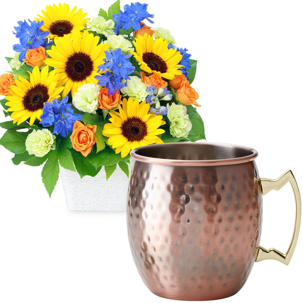 お父さんありがとうアレンジメントとカフェオレマグ t68512213  花キューピットの2020父の日セット