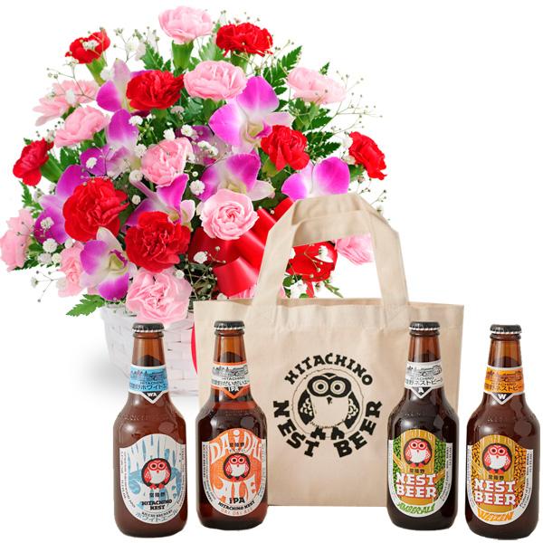 カーネーションと赤リボンのバスケットと常陸野ネストビール バッグ付き4本セット u07521282 |花キューピットの2019母の日プレゼント特集