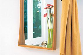 壁掛け鏡・ウォールミラー:ナチュラル色の鏡