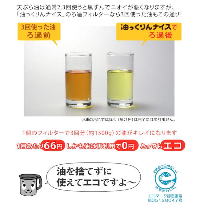 天ぷら油は通常2,3回使うと黒ずんでニオイが悪くなりますが「油っくりん」のろ過フィルターなら3回使った油もほらこの通り! 1回あたり66円しかも油は0円ととってもエコ