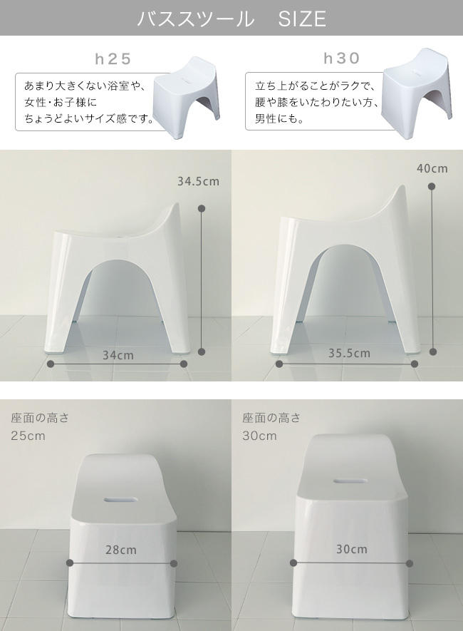 ヒューバス 手おけ・湯おけ・風呂イス25cm 3点セット バススツール サイズ表