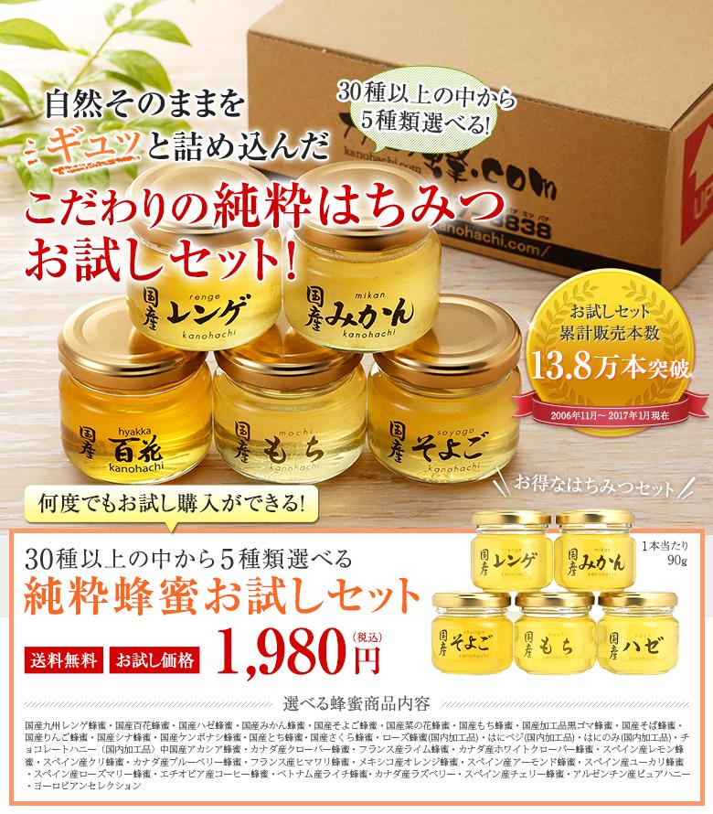 30種以上の中から5種類選べる 純粋蜂蜜お試しセット