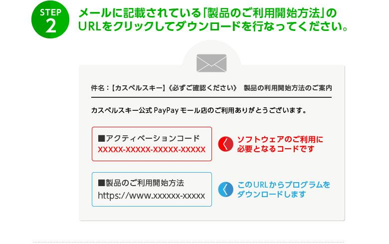メールに記載されている案内に従って、製品をダウンロードしてください。