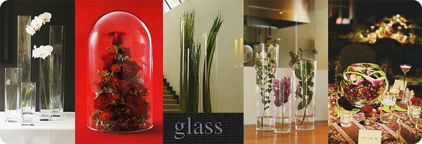 球形、角型、ロングタイプなどお洒落なガラス製の花器多数