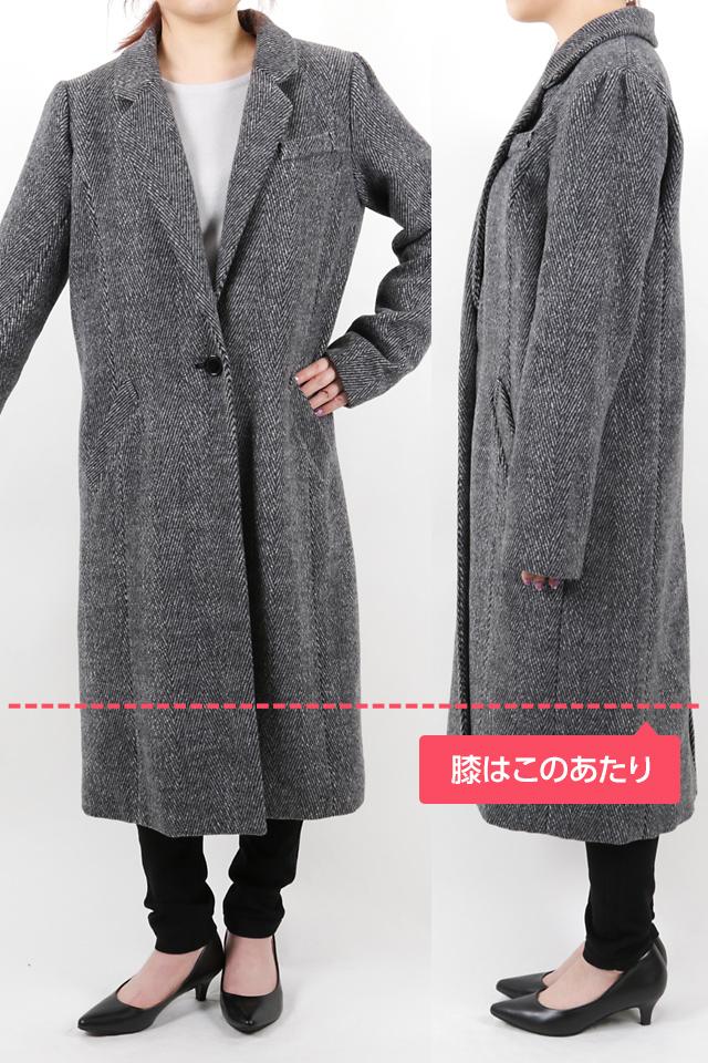152cmのモデルが着丈106cmのコートを着たイメージ