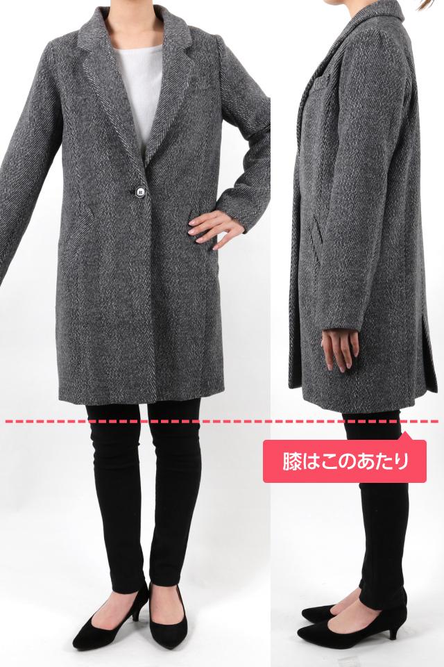 165cmのモデルが着丈86cmのコートを着たイメージ