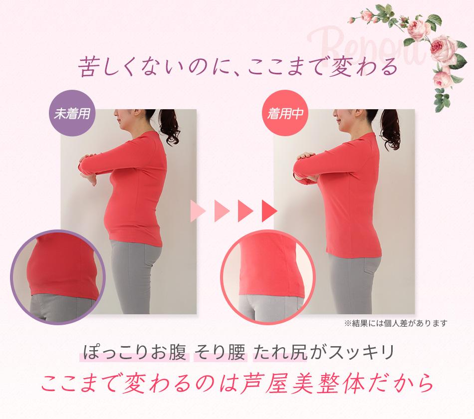 芦屋美整体 腰楽骨盤スッキリベルト プラス 2枚組 使用前 使用後 比較