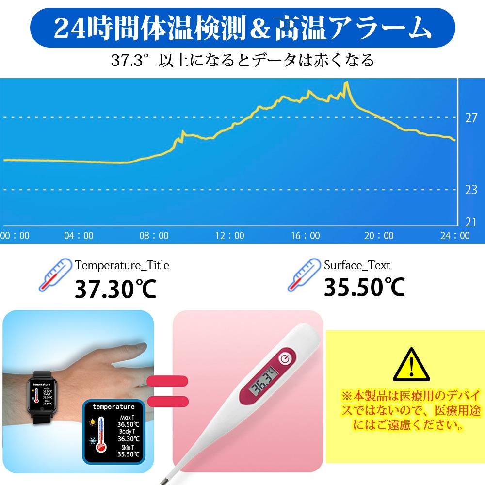 スマートウォッチ ブレスレット 体温計 パルスオキシメーター