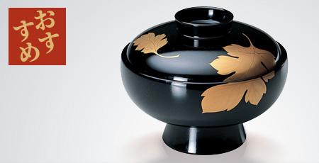 吸い物椀 黒二枚菊