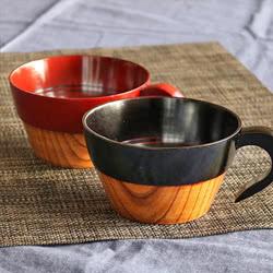 スープカップ 木製 350ml 漆 ツートン 天然木