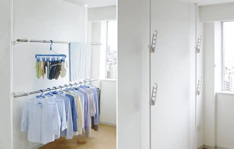 部屋干し つっぱり式 物干しポール 室内竿受け 2段 洗濯物干し