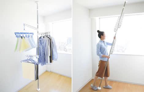 部屋干し つっぱり式 物干しポール ハンガーアーム ステンレス製 洗濯物干し