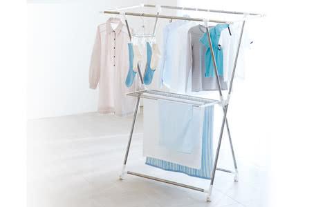 部屋干し 伸縮式室内物干しX型 PORISH ステンレス製 キャスター付き 洗濯物干し