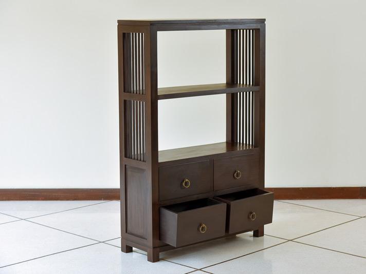アジアンモダン木製ブックシェルフ/2段タイプ【AS-074】