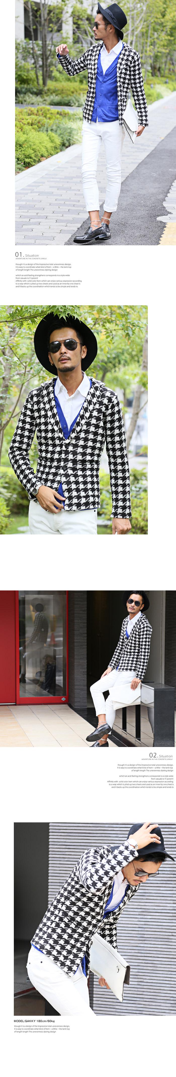 お兄系 メンズ ジャケット 千鳥 千鳥格子 チドリ ウインドペン チェック ニット ビター系 BITTER セレカジ カーデ ファッション 服 イメージ