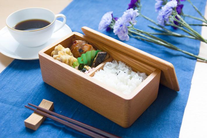 弁当箱 1段 大人 木製 (家具職人がつくる 木の弁当箱/かどまるL)