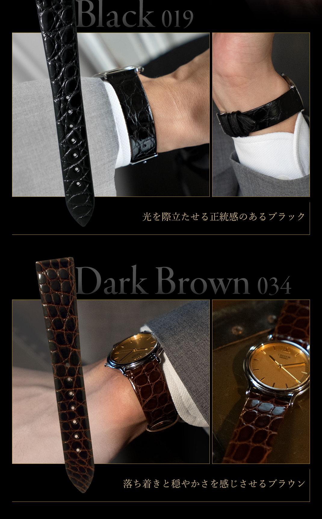 光を際立たせる正統感のあるブラック Black (019) 落ち着きと穏やかさを感じさせるブラウン Dark Brown (034)