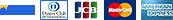 Visa、ダイナース、マスターカード、JCB、アメリカン・エキスプレス クレジットカードOK