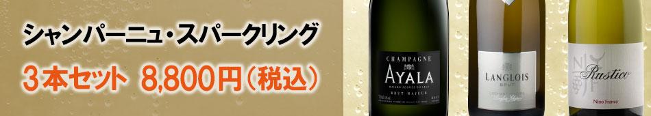 スパークリングワインセット シャンパーニュ・スパークリングワイン・3本セット
