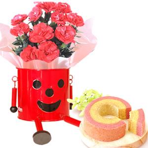 母の日 2019年  ブリキマン【赤】とカーネ(3号鉢) ケーキ