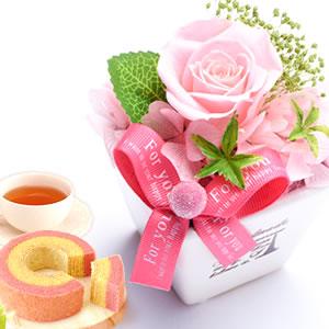 母の日 2019年  薔薇プリザエッフェル【ピンク】+スイーツ3個