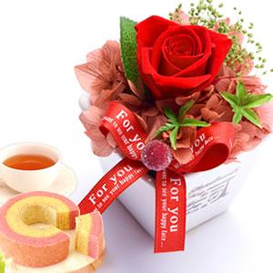 母の日 2019年  薔薇プリザエッフェル【赤】+スイーツ3個